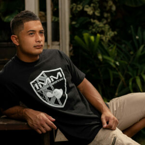Black Hawaiian Print Emblem Intense Motorsports Maui Shirt