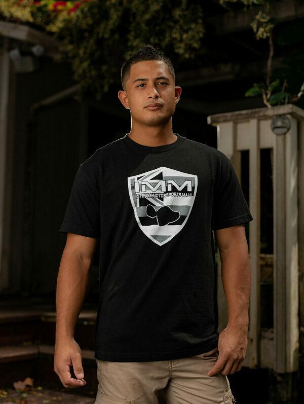 Black Hawaiian Flag Emblem Intense Motorsports Maui Shirt